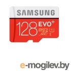Карты памяти. Samsung EVO Plus v2 MicroSDXC 128GB UHS-I U3 + SD Adapter (R100/W90Mb/s) (MB-MC128GA/RU)